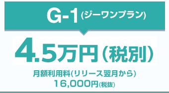 G-1(ジーワンプラン)4万円(税別)月額利用料(リリース翌月から)16,000円(税抜)