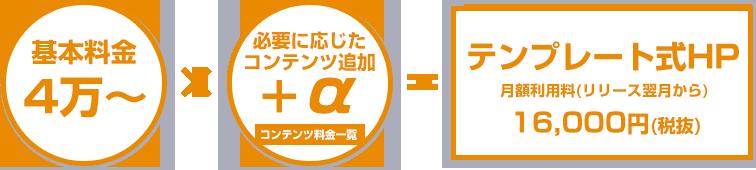基本料金4万~×必要に応じたコンテンツ追加+α=テンプレート式HP月額利用料(リリース翌月から)16,000円(税抜)