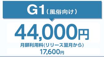 G-1(ジーワン2)4.5万円(税別)月額利用料(リリース翌月から)16,000円(税抜)