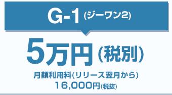 G-1ジーワン2/4万円(税別)月額利用料(リリース翌月から)16,000円(税抜)